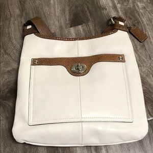Coach satchel, cream with brown straps. EUC